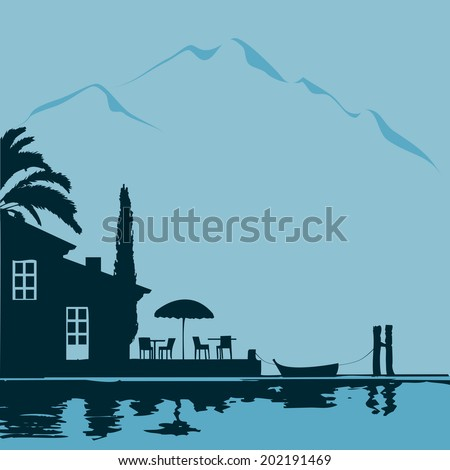 lakeside restaurant - stock vector