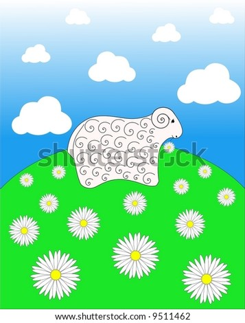 lamb grazing on the meadow, vector illustration - stock vector