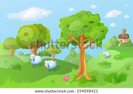 Lamb in the cartoon landscape. Fairy house is seen in the distance. Funny cartoon and vector scene - stock vector