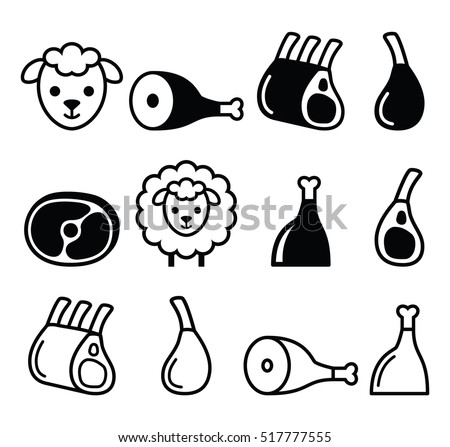 Lamb meat,  icons set