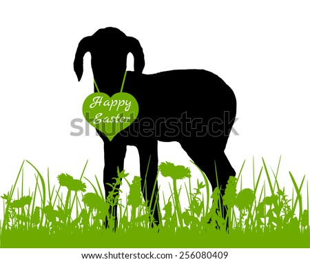 Lamb on meadow - stock vector