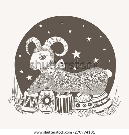 Lamb with bow lying beside painted Easter eggs on background of the sky. - stock vector