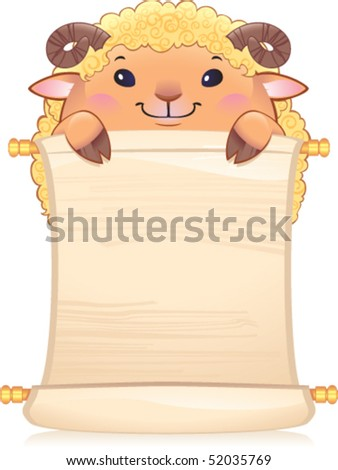 Lamb with scroll - symbol of Chinese horoscope. - stock vector