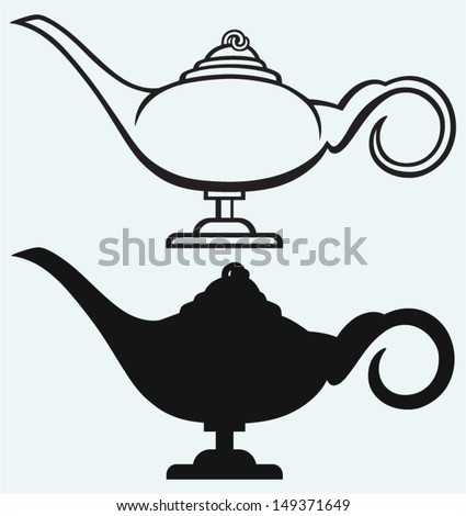 Lamp Aladdin isolated on blue background - stock vector