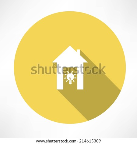 lamp and house  - stock vector