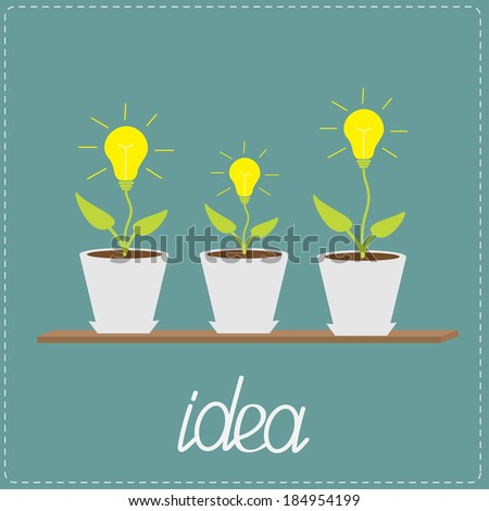 Lamp bulb plants in the pots. Wooden shelf. Growing idea concept.  Vector illustration. - stock vector