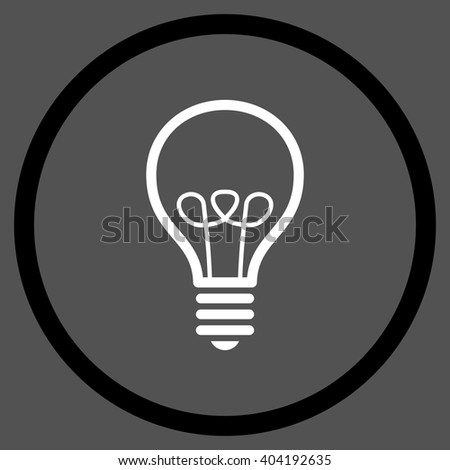 Lamp Bulb vector bicolor icon. Picture style is flat lamp bulb rounded icon drawn with black and white colors on a gray background. - stock vector