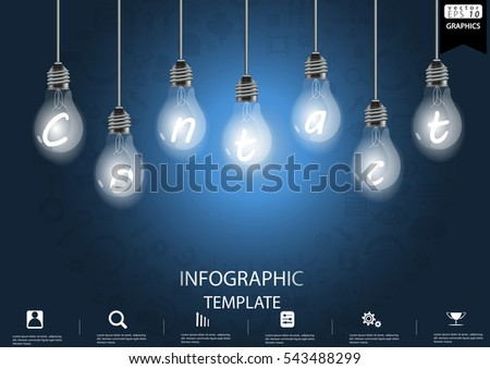 Lamp Business Success  modern Idea and Concept Vector illustration Infographic template with  icon, Contact Text.