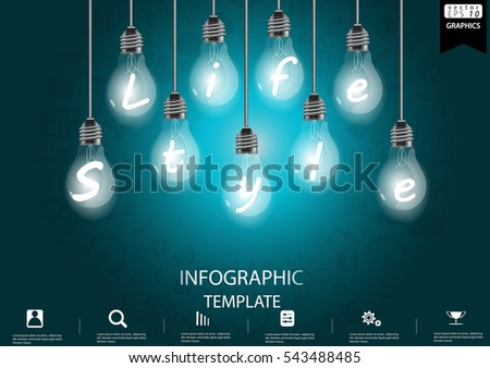 Lamp Business Success  modern Idea and Concept Vector illustration Infographic template with  icon, Life style Text.