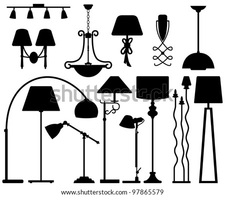 Lamp Design for Floor Ceiling Wall - stock vector
