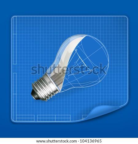 Lamp drawing blueprint, vector - stock vector