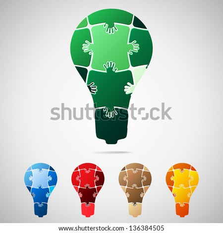 Lamp from puzzle pieces, vector illustration - stock vector