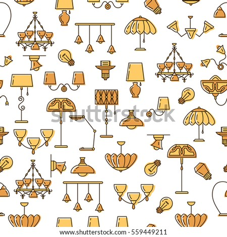 Lamp icon, lighting seamless pattern. Brand identity graphics, business concept for lighting store. Colorful thin line symbols: chandelier, lampshade, lightbulb. Vector illustration