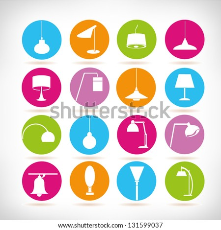 lamp icon set interior design elements set