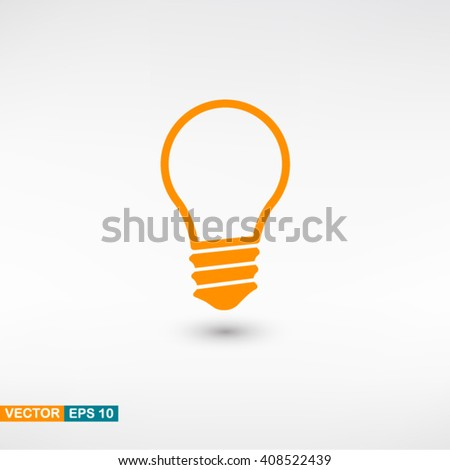 Lamp icon vector eps 10. Orange Lamp icon with shadow on a gray background.