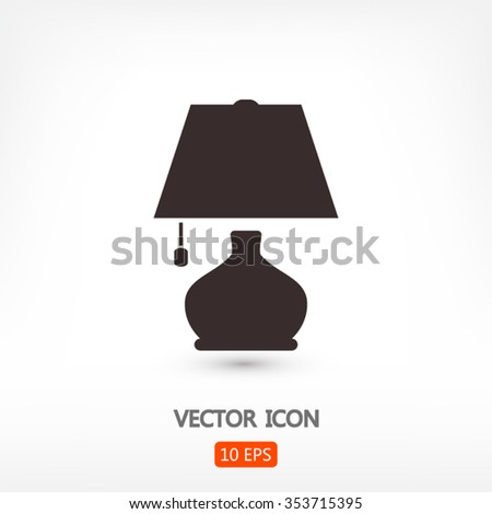 lamp icon, vector illustration. Flat design style