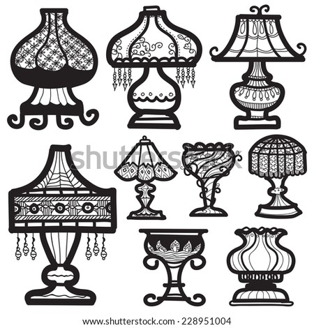 Lamp Icon Vintage Drawing