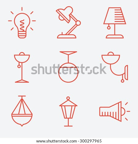 Lamp icons, thin line style, flat design - stock vector