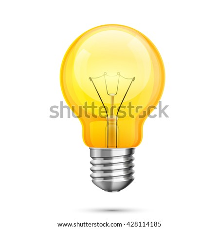 Lamp idea icon, object yellow light on a white background, Vector illustration - stock vector