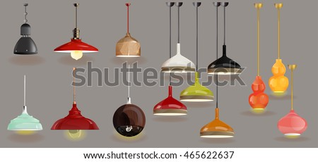 Lamp On Gray Background Furniture Icons Chandeliers Lamps Stock ...