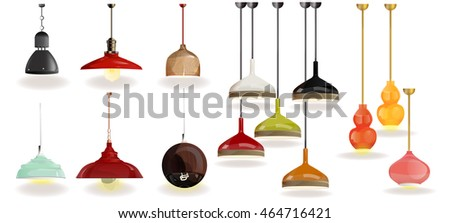 lamp on white background.Furniture icons.Chandeliers, lamps, bulbs, luster, electrolier,illuminator.Elements of interior.Modern interior.Vector Isolated Lamp.