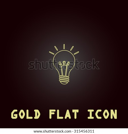 Lamp. Outline gold flat pictogram on dark background with simple text.Vector Illustration trend icon