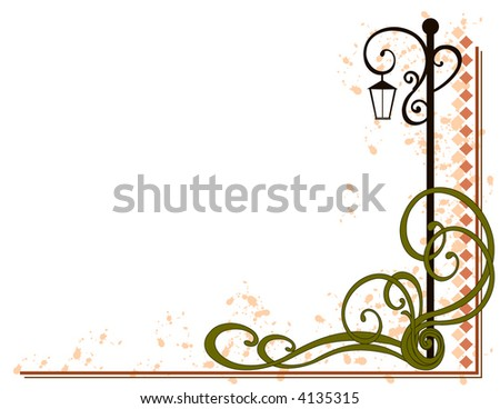 Lamp Post Decorative Flourish - stock vector
