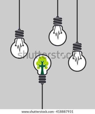 Lamp with tree inside different among the others. Ecological concept. Innovative concept - stock vector