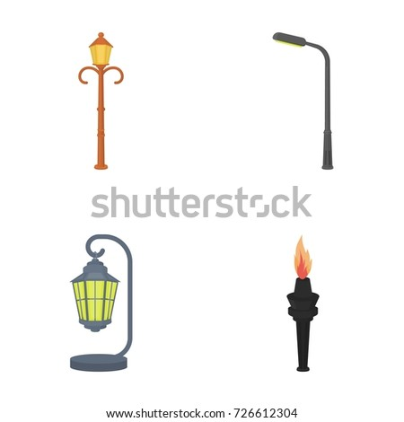 Lamppost Retro Stylemodern Lantern Torch Other Stock Vector