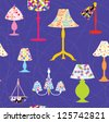 Lamps and lights seamless funny pattern - stock vector