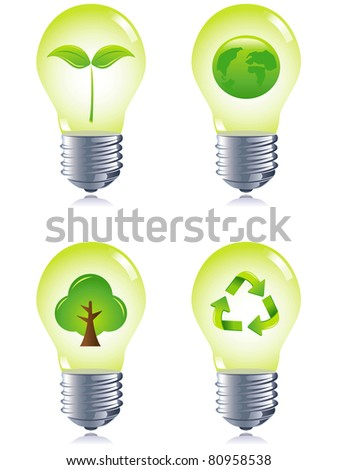 Lamps, eco concept, set collection - stock vector