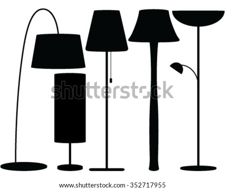 Lamps silhouette set, illustration, background