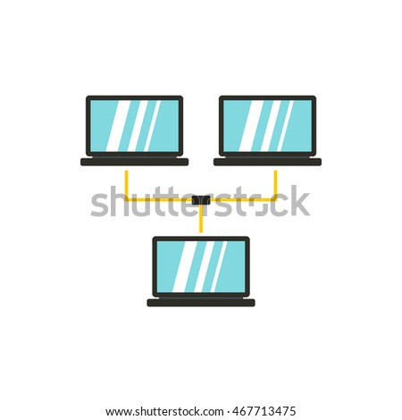 LAN icon in flat style isolated on white background. Internet symbol