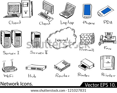 LAN Network Icons Vector Illustrator Sketched, EPS 10. - stock vector