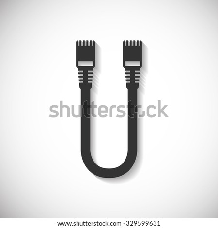 LAN Wire Cable Computer Icon , Long Shadow - stock vector