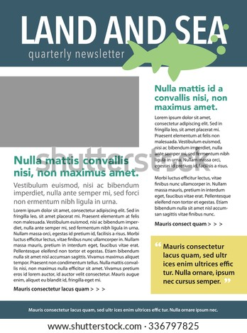 Land and sea newsletter template with fish graphic