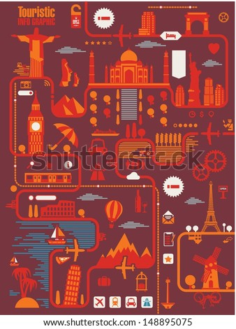land marks and travel vector background - stock vector