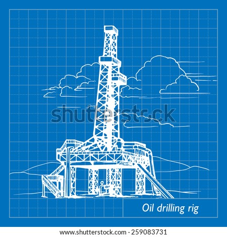 land oil drilling complex also called oil rig. EPS10 vector illustration imitating blueprint style scribbling with white marker. - stock vector