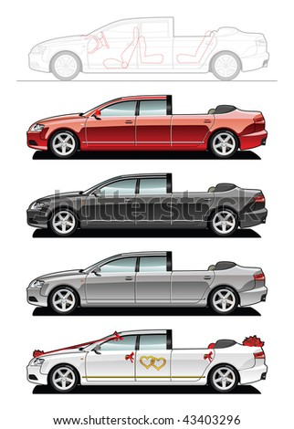 landaulet part of my collections of Car body style. Simple gradients only - no gradient mesh - stock vector