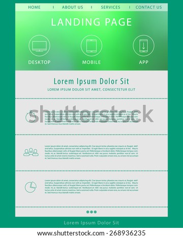 Landing page concept, website design template, vector illustration, eps10, easy to edit - stock vector