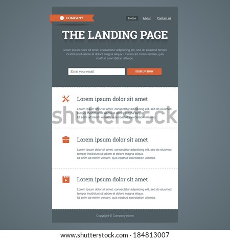Landing Page Flat Style Features Icons Stock Vector 184813007 ...