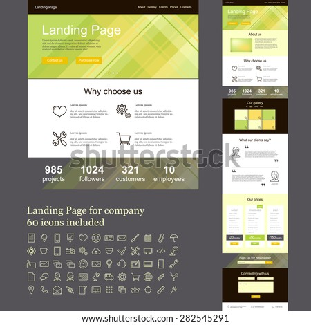 Landing page template for company, one page web site with set of linear icons - stock vector