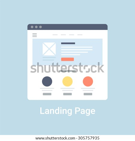 Landing page website wireframe interface template. Flat vector illustration on blue background - stock vector