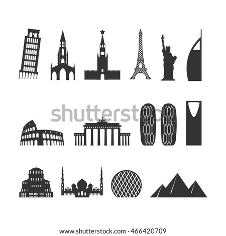 Landmark travel set. silhouette Architectural monuments. Known state building. Eiffel Tower, and Moscow Kremlin. Statue of Liberty. Egyptian pyramids and Roman Colosseum. Brandenburg Gate in Berlin