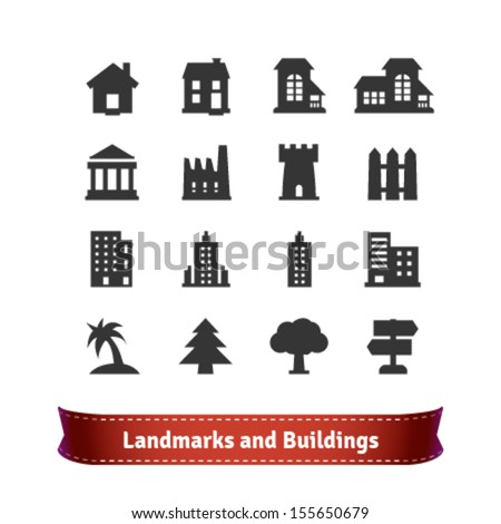 Landmarks and Buildings Icon Set - stock vector