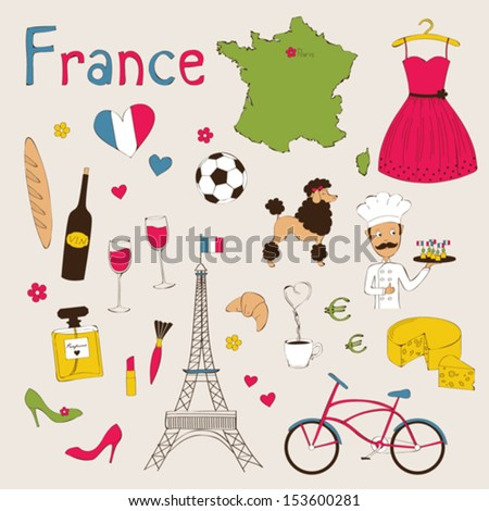 Landmarks and symbols of France - stock vector