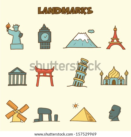 landmarks doodle icons, vector hand drawing style - stock vector