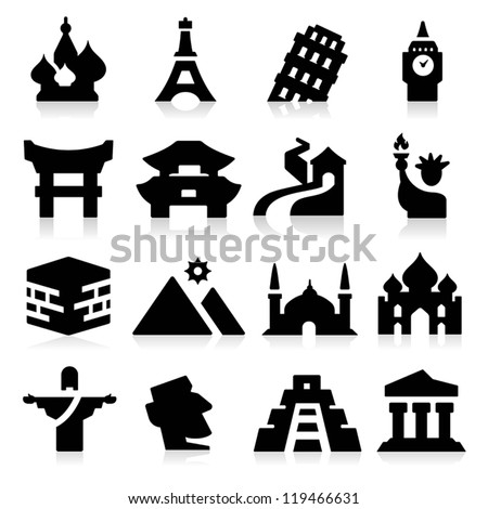Landmarks Icons two - stock vector