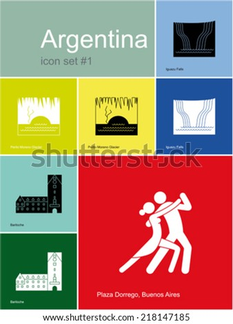 Landmarks of Argentina. Set of color icons in Metro style. Editable vector illustration. - stock vector