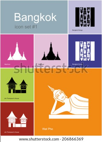 Landmarks of Bangkok. Set of color icons in Metro style. Editable vector illustration. - stock vector